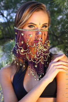 Womens Festival & Rave Fashion, Streetwear and Swimwear Mouth Mask Fashion, Fashion Face Mask, Gypsy Costume, Face Veil, Bridal Mask, Rave Festival, Hippie Gypsy, Rave Wear, Belly Dancers