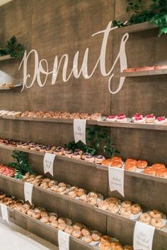 rustic weding dessert bar ideas with donut wall