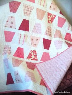 Pink  and White Modern Baby Quilt Tumbling by PatsPassionQuilteds, $95.00