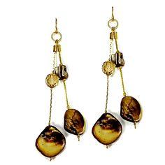 Abalone Drop Earrings Vintage Beaded Organic Gold Tone e542