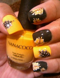 NANACOCO polishes: Cowboy Dance (gray) & I Am Cute (yellow) - with Leopard Peacock Feather water decals on LEFT hand #NOTD