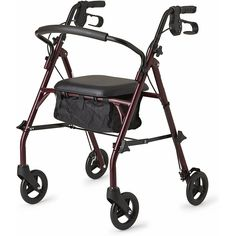Healthcare Direct 100RA Steel Rollator Walker with 350 lb. Weight Capacity, Burgundy         *** Read more at the image link. (This is an affiliate link) #IndustrialScientific