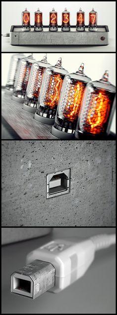 Nixie tube concrete clock on Behance