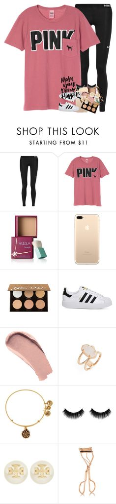 """tryouts on friday"" by ellaswiftie13 ❤ liked on Polyvore featuring NIKE, Victoria's Secret, Benefit, Anastasia Beverly Hills, adidas, Burberry, Kendra Scott, Alex and Ani, Tory Burch and Charlotte Tilbury"