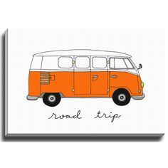 Bashian Rugs Road Trip Orange by Coco Draws Graphic Art on Wrapped Canvas