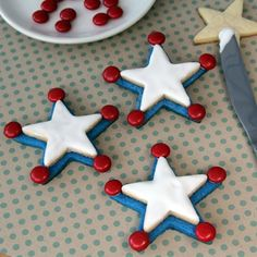 Woody's 4th of July Badge cookies | Independence Day red, white and blue Disney recipes | [ http://family.disney.com/recipe/woodys-independence-day-badge-cookies ]