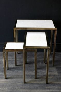 Marble Top, Brass Effect Nest of 3 Tables
