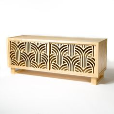 Beautiful Art Deco credenza, cabinet featuring laser cut doors that are interchangeable. Choose from dozens of design options!