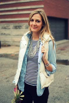 Stripes, denim, vest, statement necklace.