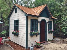 Start with the white walls, and then every other colour will fall in line. Small Wood Shed, Small Shed Plans, 10x12 Shed Plans, Small Sheds, Diy Shed Plans, Craftsman Sheds, White Siding, Build Your Own Shed, Simple Shed