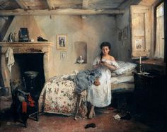 """Sad Presentiment (1862). Gerolamo Induno (Italian, 1825-1890). Oil on canvas. Pinacoteca di Brera.  In a humble domestic setting, a young woman looks at the portrait of a loved one, troubled by the presentiment of his death. The letter on the floor may have brought disturbing news. The figure has a certain composure and is represented in a classical way, with a certain degree of solemnity. The bust of Garibaldi and a reproduction of """"Il Bacio"""" by Hayez set this event in time."""