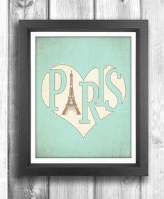 Paris Poster Typographic print Vintage poster door HappyLetterShop, $22.00
