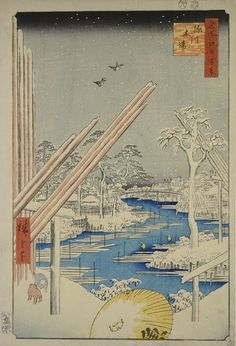 Utagawa Hiroshige One Hundred Famous Views of Edo: Timber Yard, Fukagawa, woodblock print, SOLD. Art Prints For Sale, Fine Art Prints, Framed Prints, Poster Prints, Canvas Prints, Japanese Prints, Japanese Art, Japanese Drawings, Japanese Painting
