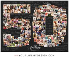 Birthday Photo Collage, Birthday Photos, Anniversary Photos, 50th Anniversary, 50th Birthday Party Decorations, Heart Collage, School Birthday, Photocollage, Birthday Numbers