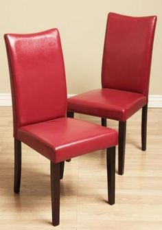 Shino Red Bi-cast Leather Dining Chairs (Set of 2) #WarehouseofTiffany