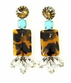 J. Crew Earrings. love the aqua and tortoise shell