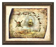 Pirate Treasure Map Art of Caribbean Island,Antique Map Caribbean,Old Map Caribbean Decor Art,Pirate Decor Art,Wall Art,Instant Download