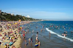 A sunny day in Bournemouth: The beach in Dorset attracts an estimated 3.5m sun-worshipers during the peak summer months