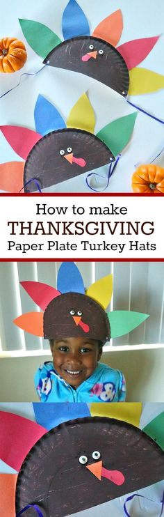 Thanksgiving Crafts for Kids- How to make Turkey Paper Plate Hats