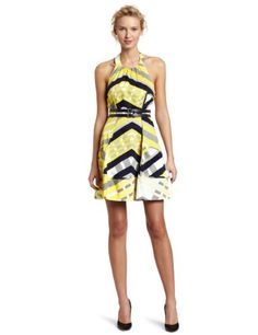 Amazon.com: Jessica Simpson Women's Belted Halter Pockets Dress: Clothing