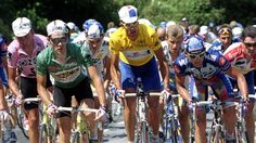 1995 Spain's Miguel Indurain (C), Swiss Tony Rominger  and Laurent Jalabert of France   lead the peloton during the 237km 16th stage of the Tour de France.