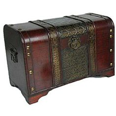 @Overstock - This beautiful wood trunk features old fashioned hardware for an antique look. This decorative treasure chest is great for coffee table, end table, storage and decoration. http://www.overstock.com/Home-Garden/Old-Fashioned-Medium-Wood-Storage-Chest/6410218/product.html?CID=214117 $104.99