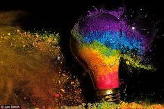 The rainbow is a symbol of the LGBT movement, the artist says. I wanted to use the symbolism of the light bulb to evoke the feeling of breaking through antiquated stereotypes people have