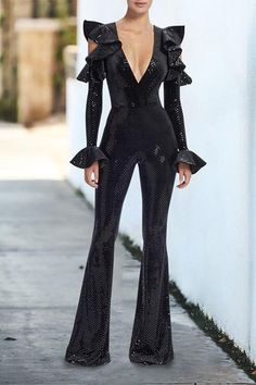 d15d3394252 Summer Fashion Women Casual Sexy Deep V Off-Shoulder Sequins Jumpsuits  Stretch Bodycon Rompers