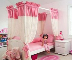 Bedroom, Pink Canopy Bed For Toddler Girl: How to Build a Canopy Bed for Your Bedroom