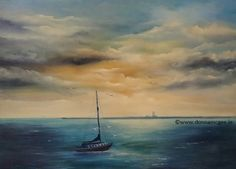 Restful Eve in Dun Loaghaire - Oil on Canvas 0 x 70 cms Oil On Canvas, Eve, Places To Visit, Clouds, Fine Art, Water, Painting, Outdoor, Gripe Water