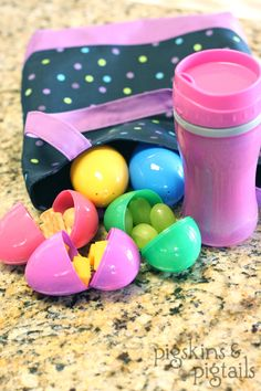 Easter Lunch/Snack...such a cute idea!  Fill plastic eggs with grapes, raisins, cheese cubes, etc.