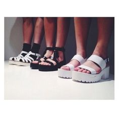 Shop from the best fashion sites and get inspiration from the latest platform shoes. Socks And Sandals, White Sandals, Girls Sandals, Flat Sandals, Soft Grunge, Black Grunge, Black And White Tumblr, Crazy Shoes, Me Too Shoes