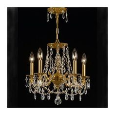 Cool! :)) Pin This & Follow Us! zBrands.com is your Light Fixture Gallery ;) CLICK IMAGE TWICE for Pricing and Info :) SEE A LARGER SELECTION chandeliers at http://www.zbrands.com/Chandeliers-C35.aspx - #homeimprovement #homedecor #lighting  #lights #lightandfixture #chandeliers -  Crystorama Chandeliers - Regis 5 Light Chandelier Finish: Aged brass, Crystal: Silver Shade Swaroski Strass
