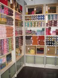 An DREAM Craft room storage solution! You can see it all and it's beautifully color-coordinated! Sewing Room Storage, Sewing Room Organization, Craft Room Storage, My Sewing Room, Sewing Rooms, Craft Rooms, Organization Ideas, Storage Ideas, Space Crafts