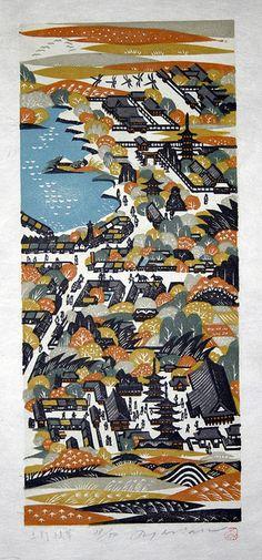 Ray Morimura. Ueno Asakusa. Woodblock Print. 1987.