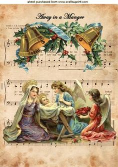 VINTAGE MARY WITH ANGELS ON CAROL SHEET A4, Makes a lovely christmas card lots of vintage designs also in toppers