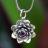 Amethyst flower necklace, 'Sacred Lilac Lotus' by NOVICA