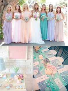 New Wedding Colors Spring Pastel Bridesmaid Dresses 46 Ideas Wedding Themes, Wedding Attire, Wedding Bridesmaids, Bridesmaid Dresses, Wedding Dresses, Pastel Bridesmaids, Flowy Dresses, Spring Dresses, Wedding Decor