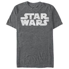 Simplest Logo - Sometimes simple graphics make the best fashion, and no Star Wars fan can go wrong when sporting the Star Wars Simple Logo Charcoal Heather T-Shirt. The classic Star Wars logo is in a distressed style on this classic Star Wars shirt to keep you from