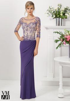 Dress for evening ware, cocktail dresses or social occasions by VM Collection Jersey with Embroidery and Beading on Net Available in Navy/Nude, Plum/Nude, Black.
