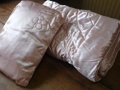 Baby Blanket and Pillow/Pink Satin by OldSteamerTrunkJunk on Etsy