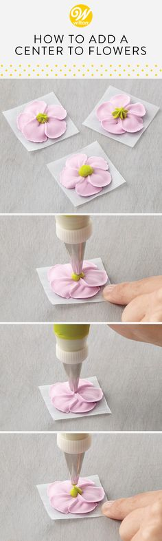 Learn how to make add round and star centers to your flowers for a realistic touch! #wiltoncakes #cakes #cakeideas #cakedecorating #cupcakes #cupcakedecorating #cupcakeideas #howto #cakedesigns #cupcakedesigns #frosting #buttercream #piping #dessertideas #blossoms