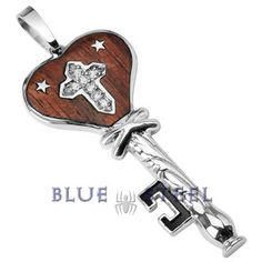 PIN IT TO WIN IT! Star Cross Key:Unlock the secret to love with this heart key pendant! Made out of surgical grade stainless steel with wood inlay and cubic zirconia, this pendant will surely be the key to the heart!       $49.99  www.buybluesteel.com