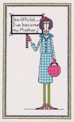 dolly mamas cross stitch kits | Janlynn - DOLLY MAMA'S It's Official Counted Cross Stitch Kit # 019 ...