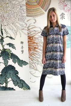 Amy Butler's Alchemy Studio Fabrics with The Fabienne Shirtdress from fitz patterns
