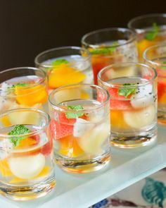 Fruit konnyaku jelly served in shot glasses - so pretty!