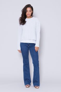 'Noelle' soft icy blue knitted cotton sweater by Swedish fashion brand House of Dagmar︱ www.grandpa.se︱ Scandinavian fashion and home decor︱ Shipping to Europe and the US