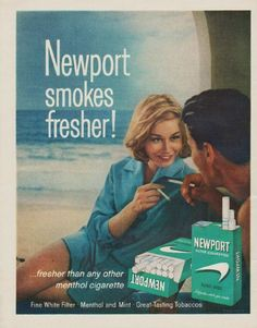 "Description: 1963 NEWPORT CIGARETTES vintage magazine advertisement ""Newport smokes fresher"" -- Newport smokes fresher! ... fresher than any other menthol cigarette ... Fine White Filter * Menthol and Mint * Great-Tasting Tobaccos -- Size: The dimensions of the full-page advertisement are approximately 10.5 inches x 13.25 inches (26.75 cm x 33.75 cm). Condition: This original vintage full-page advertisement is in Excellent Condition unless otherwise noted."