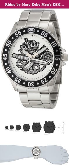 Rhino by Marc Ecko Men's E8M017MV Bold Graphic Detailed Watch. An intrepid timepiece teeming with urban style, this Rhino by Marc Ecko watch has an edgy presentation on the wrist that lets passersby know exactly how you roll. Rhino by Marc Ecko watches boast the quality materials and masterful craftsmanship that has come to be associated with the Marc Ecko brand. MARC ECKO/FASHION DESIGNER/ARTIST/ENTREPRENEUR My name is Marc Ecko. Most people think I am a designer. But I fancy myself more…