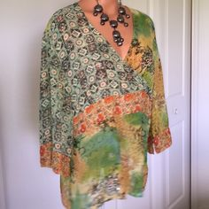 Coldwater Creek Blouse - BOHO Style 3/4 loose sleeve -Light Flowy Multicolored Tunic style Blouse w/select sequined details. Coldwater Creek Tops Tunics